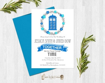 Doctor Who Wedding Invitation Printable Sci-fi Geek Nerd Tardis Digital File Download Unique Afforadable Chic Boho Marriage Announcements