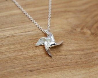 Handmade Sterling Silver Pin Wheel Necklace