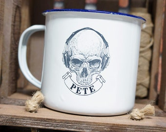 Birthday Mug, Enamel Mug Personalised Gift, Skull Tattoo Design