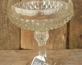 Clear Glass Footed Pedestal Bowl