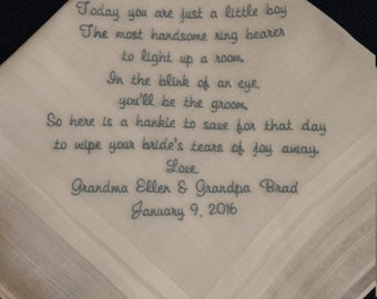 Ring Bearer Personalized Sentiment Handkerchief