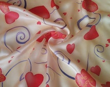 Small square silk scarf hand painted ,Valentines Day gift for her ,accessories,gift for girl
