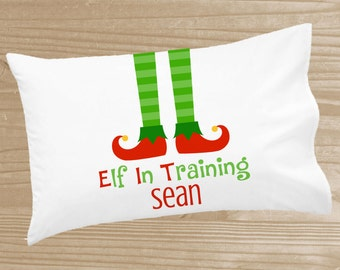 Personalized Christmas Pillowcase - Elf Pillowcase for Kids - Christmas Elf Holiday Pillow Case - Custom Christmas Pillow Slip - Elf Pillow