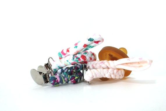 SET OF 3 Pacifier Clips / Choose 3 Clips / binky clip / pacifier holder / neutral gift / shower gift / Jersey Braided Pacifier clip