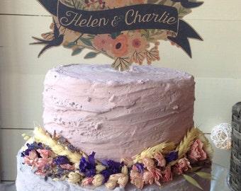 Woodland Rustic Vintage style wedding cake topper Birthday Christening  FREE SHIPPING.