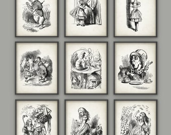 Alice in Wonderland Wall Art Poster Set of 9 - Nursery Home Decor - Childrens Book Illustration Print - Girls Room Wall Art Set of 9 (#2)