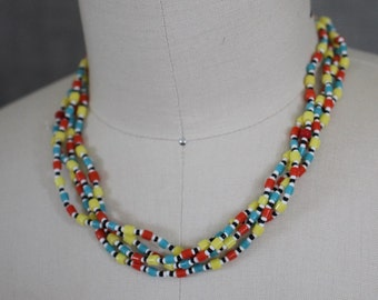Bright Coloured Multi Strand Necklace