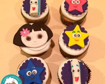 Dora the explorer inspired fondant cupcake topper