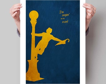"SINGIN' in the RAIN Inspired Gene Kelly Minimalist Movie Poster Print - 13""x19"" (33x48 cm)"