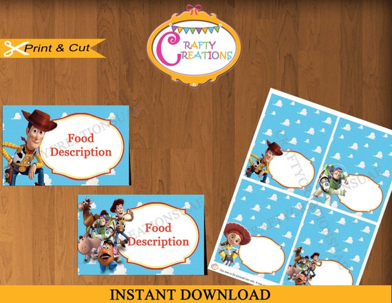 toy story food tent cards toy story food labels toy story