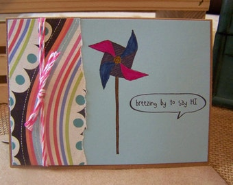 Hand Stamped Card : Hello, Friendship Card with Pinwheel and Colored Twine