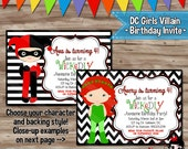 DC VILLAIN Girls Birthday Invitation, Harley Quinn Invite, Poison Ivy, Batman Villains, Harley Quinn Poison Ivy, Digital Printable: JPG File