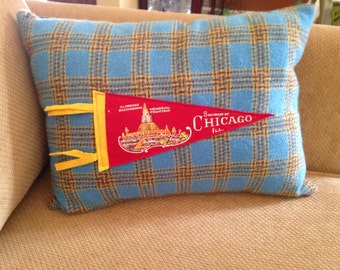 vintage Chicago Buckingham fountain pennant pillow