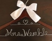 Ships Today! Personalized Custom Double Lined Hanger w/Heart Bridal Hanger Gift For Bride Wedding
