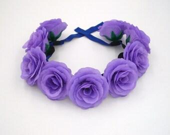 Violet Flower Headband,Purple Rose Headband,Violet Rose Crown,Purple flower Crown,Floral Headband,Festival Crown,Rose Halo,Rose Hair Wreath