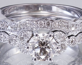 18k white gold round cut diamond engagement ring band art deco style 0.75ct