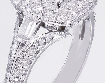 14k White Gold Princess Cut Diamond Engagement Ring Halo Deco 1.80ctw
