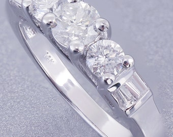 14k White Gold Round Cut Baguettes Diamond Engagement Ring Prong Set 0.65ctw