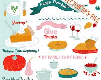 Thanksgiving Clip Art Vector EPS Cute Food Turkey Pumpkin Apple Pie Cranberry Ribbon Sweet Potato Wine Digital Download Commercial Handdrawn