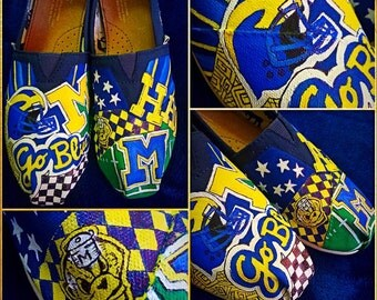 Custom designed and painted University of Michigan Toms! Designed and personalized just for you