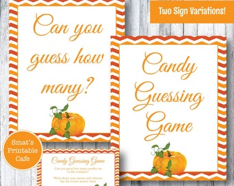 Pumpkin Baby Shower Candy Guessing Game - PRINTABLE Autumn Theme - How Many M&Ms - Instant Download - Baby Shower Games - How Many Candies