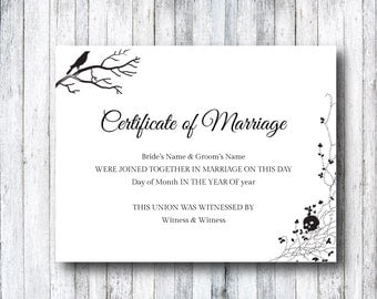 Marriage certificate etsy halloween wedding marriage certificate template diy printable gothic skull theme editable edit in yadclub Gallery