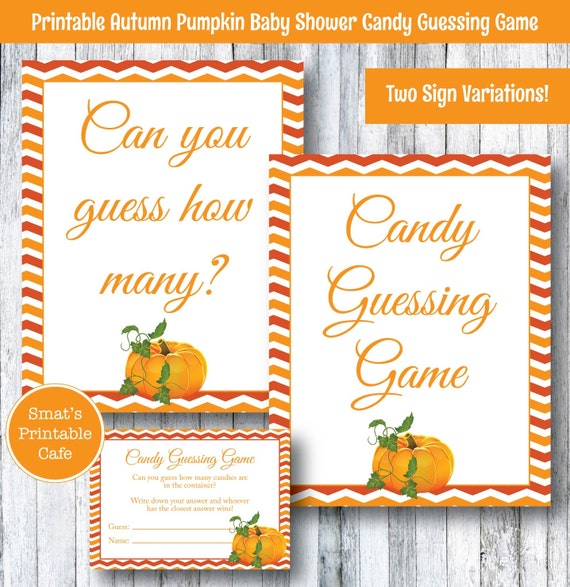 Candy Baby Shower Game: Pumpkin Baby Shower Candy Guessing Game PRINTABLE Autumn
