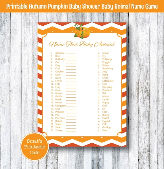 Baby Shower Game Name The Baby Animal: Pumpkin Baby Shower Baby Animal Name Game Quiz PRINTABLE