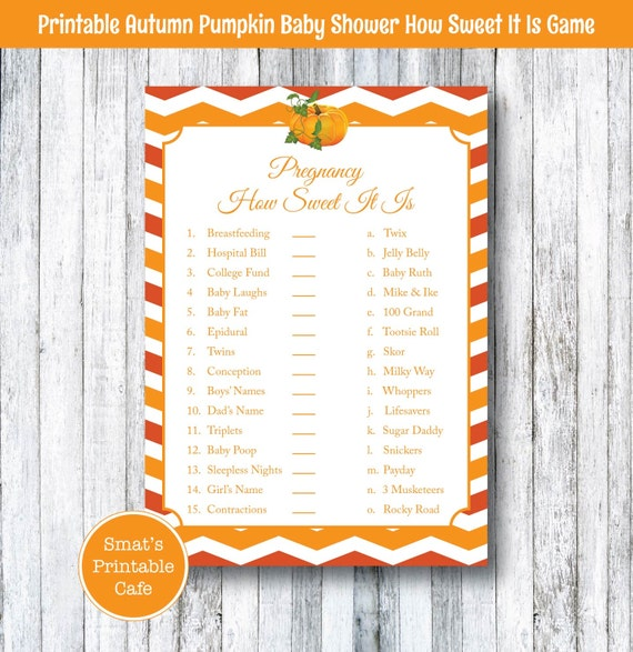 pumpkin baby shower pregnancy how sweet it is game printable autumn