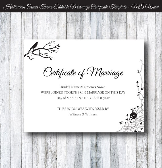 Halloween Wedding Marriage Certificate Template Diy Printable
