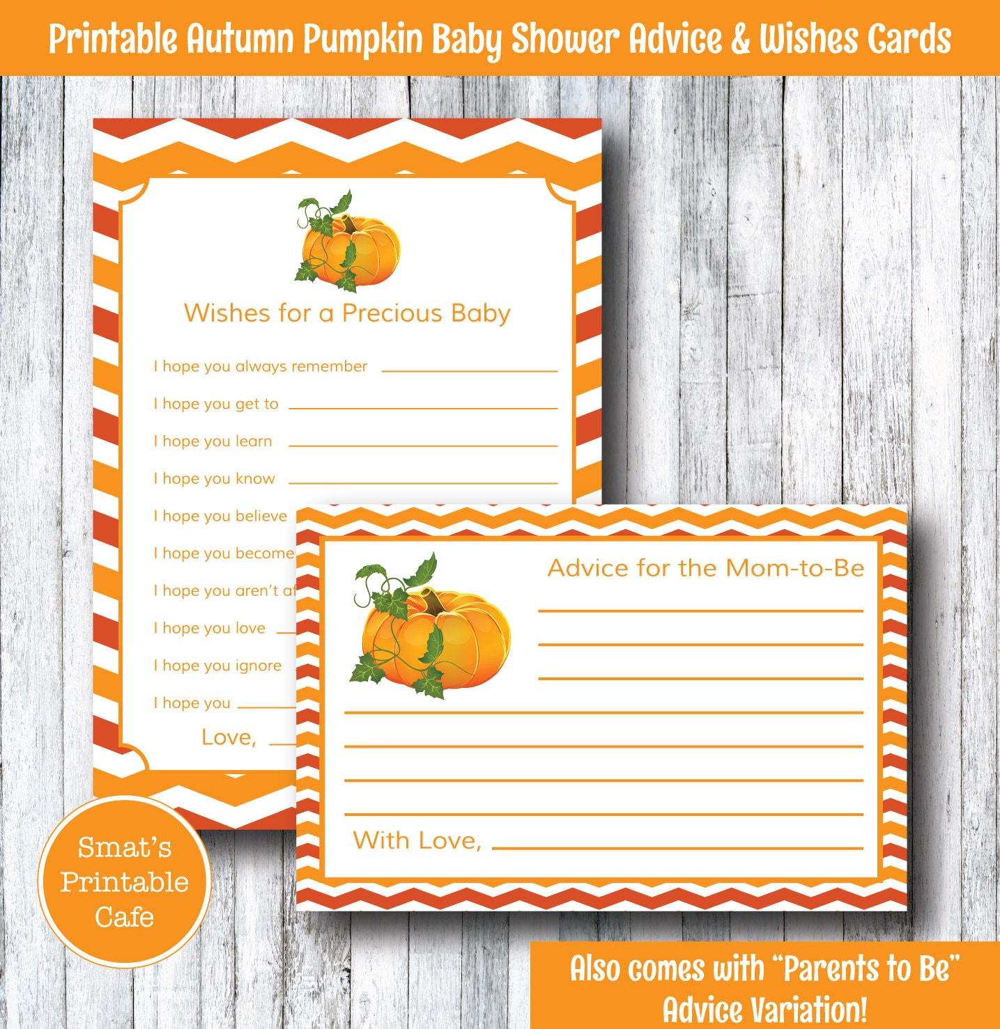 Baby Shower Cards Messages: Autumn Fall Pumpkin Baby Shower Wishes & Advice Cards