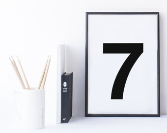Quote Print and/or Frame - Number '7' (seven)