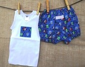 Baby Blue Pirate Bloomer and Singlet Set -  Cotton Baby Singlet and Bloomer, Baby Bloomer Set, Nappy cover Free shipping