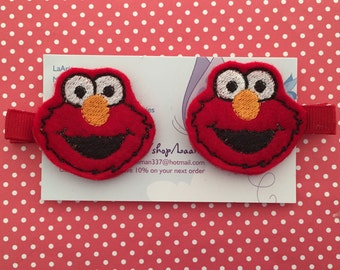 Elmo Inspired Hair Clips