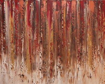 """XL Original Modern Acrylic Contemporary Palette Knife textured Gold painting 48"""" x 24"""" ready to hang box canvas, home decor, abstract art"""