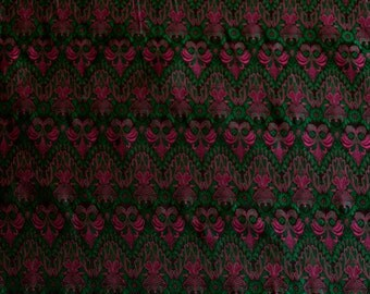 "Emerald/Fuchsia Brocade Satin Jacquard 100% Silk Fabric, 44"" Wide, By The Yard (JD-356)"