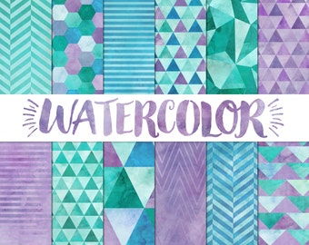 Watercolor Digital Paper / Purple Geometric Watercolor Paper / Modern Digital Paper / Digital Watercolor Background / Triangle Digital Paper