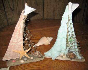 Drift Wood Sailboats.  Nautical Decor.  Beach Decor.  Home Decor.   Two For The Price Of One  !!!!!