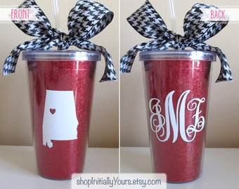 Bama Personalized Tumbler, Monogram State Glitter Gameday Tailgate Cup, University of Alabama College, Roll Tide, Crimson Tide, Houndstooth