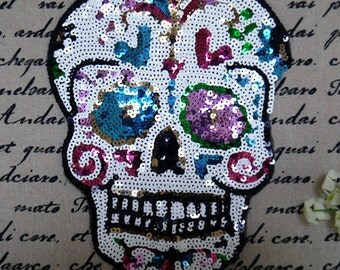 Sequined skull patch applique embroideredfabric clothes applique