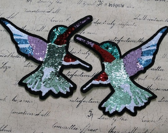Double birds sequined applique patch Paillette embroidered patch Coat or Sweater decoration patch