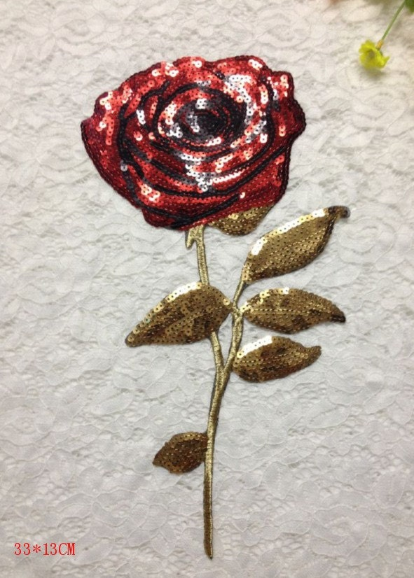 Sequin applique rose embroidered patch fabric clothes