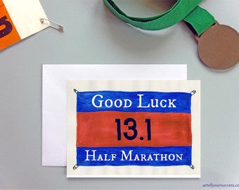 Good Luck Half Marathon card, 13.1 card, good luck 13.1 card, running card, card for runner