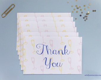 Thank you card 6 pack, champagne thank you card, pink champagne, white champagne