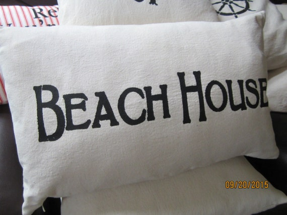 Beach themed throw pillow BEACH HOUSE stencil 12 x 20 inch easy care