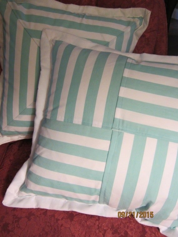 REDUCED!!! Set of two seafoam green and white striped throw pillows with flange and snap closure