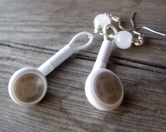 iPod earphones headphones earrings apple geek jewelry mac white grey upcycled recycled geekery for her geeky girl