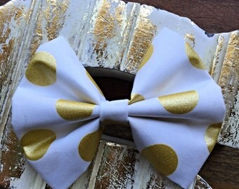 White with Gold Metallic Polka Dots Fabric Hair Bow 4""