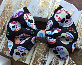 Sugar Skulls Fabric Hair Bow 4""