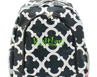 Monogrammed Quatrefoil Backpack Personalized Back Pack Black Quatrefoil Backpack
